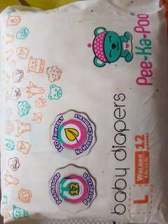 Brand New L size PeeKaPoo baby diapers $4/packet (9 packets of 12 pcs diapers each)