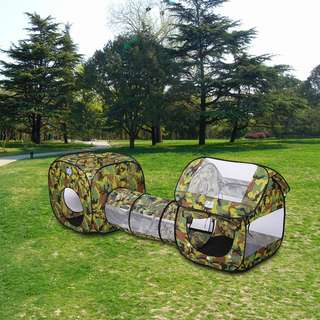 Excelvan 3 in 1 Pop-up Play Tent Camouflage Playhouse Tunnel Kids Outdoor Toy