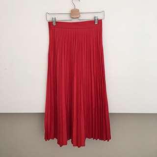 🚚 Zara 紅色百褶長裙