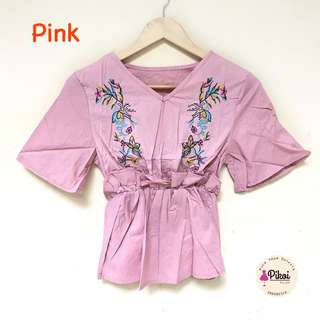 Baju peplum wanita / baju premium hongkong / atasan bordir bunga murah / 1399