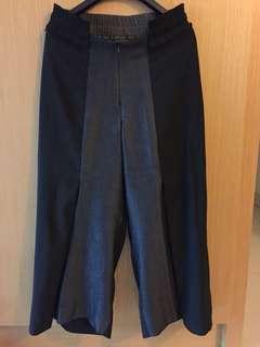 1231) 黑色七分筒褲