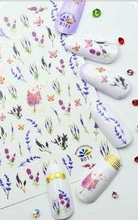 BNIP Purple Lavender Wild Flowers Nail Stickers Nail Art Nail Decals