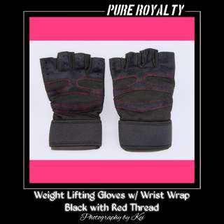 Weight Lifting Gloves w/ Wrist Wrap Black with Red Thread