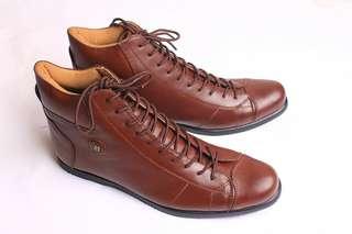 Sepatu Boots Pria Casual Kulit Asli Boston Haido Coklat
