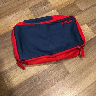 Brand new original Fila toiletry canvas bag with double zipper and metal hanging hook