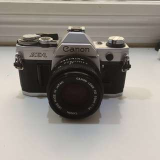 Canon Ae-1 with prime 50mm 1.8 lens