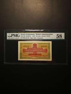 Straits Settlement 10 Cents 1919 (PMG58)