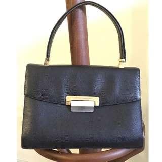 1950s vintage Koret (made in the USA) black leather handbag