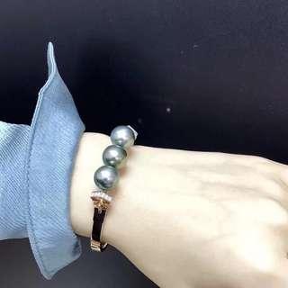 超級完美的孔雀綠手鐲 18K鑽石💎祖母綠,超有質感 pearl bangle