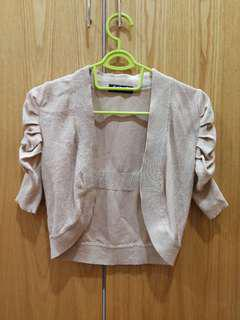 Shimmery gold crop cardigan