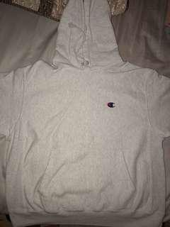 Champion reverse weave hoodie white-gray size Large