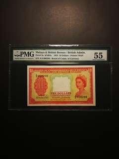 Malaya Queen $10 1953 (PMG55)