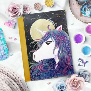 Tumblr Galaxy Unicorn Personalised Notebook