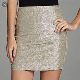 BCBGeneration Women's Silver Textured Pencil Mini Skirt