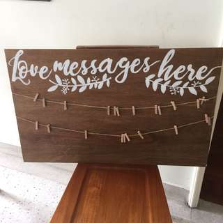 Love messages here wedding board