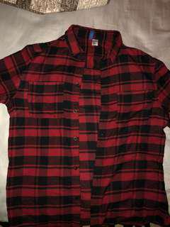 H&M flannel red size Large