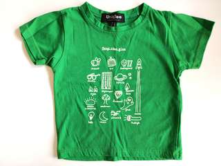 PRELOVED UNIQTEE Kid's Things That Glow Kelly Green T-shirt - in average condition