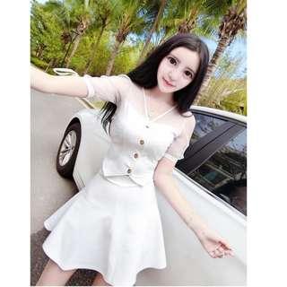 READY STOCK V9655R - 新款V领透视网纱蝴蝶结高腰A字短裙连衣裙 两件套 白色