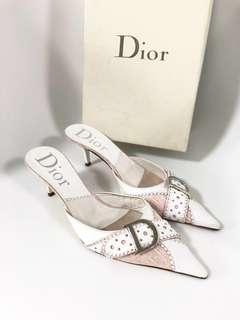 💯真品 Auth Christian Dior pink Sandals 經典高貴真皮粉紅色高跟涼鞋女神鞋 36碼