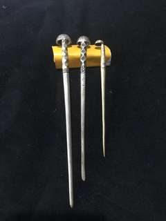 1930s Malaccan Portuguese Silver Hairpins