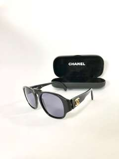 💯真品 Auth Chanel CC logo sunglasses經典黑色大CC太陽眼鏡 02