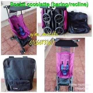 Pockit Cocolatte cabin stroller (baring/recline)