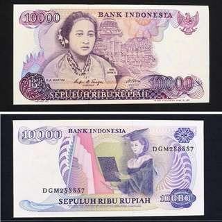 (UNC+靚號 ) 1985年 印尼10000 盧比紙幣一張