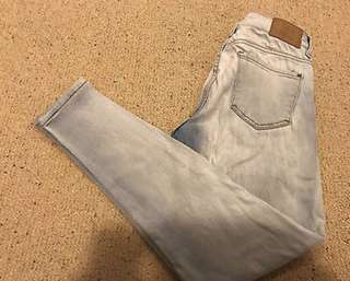 Zara skinny jeans light blue washed out size 8