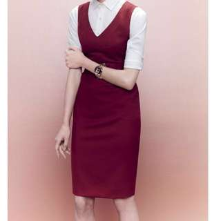 (NWT) J.Crew burgundy pencil dress
