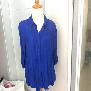 Kemeja biru blouse atasan