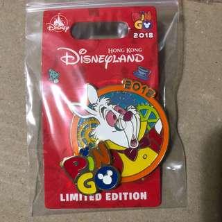 香港 迪士尼 徽章 Disney Pin PIN GO PINGO 白兔先生