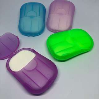 Mini travel hand and bath soap films / paper soap