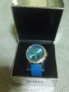 Xoxo Dual Time Rhinestone Watch