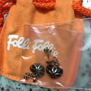 Folli Follie heart earrings with full packing, ladies' choice, birthday gift