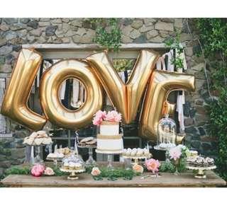 "40"" LOVE gold foil balloons"