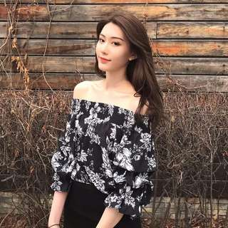 Korean Style Black and White Floral Off Shoulder Top