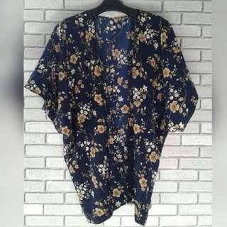 Kimono Outer Beach /hijab Navy Flower