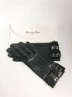💯真品 全新 Auth Christian Dior lambskin gloves 黑色銀扣真皮手套
