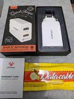 Charger Vivan DQ01 Dual Port (Support QC 3.0)