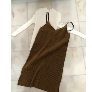 Korean style brown outer wear dress