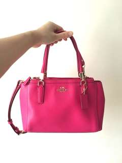 💯真品 coach pink mini christie carryall in crossgrain leather 桃紅袋 bag
