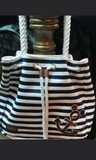全新Disney 藍白間水手風布袋
