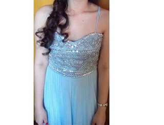 Formal blue backless style long gown