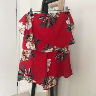 Missguided Red Floral Playsuit
