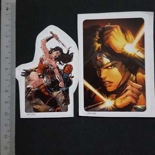 C5B DC Comics Wonder Woman Fighting Deathstroke & Bracelets of Submission Sticker Stickers