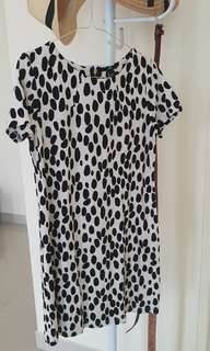 H&M polkadot dress black+white
