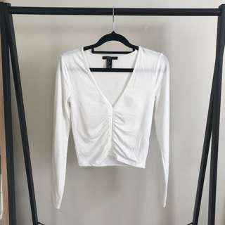 Forever 21 Ruched Long Sleeve White Top