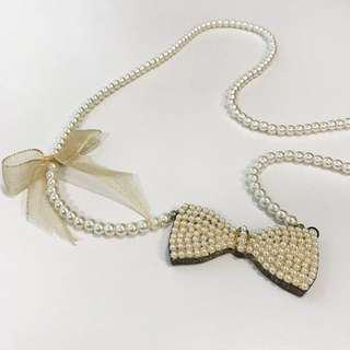 Kamiseta Pearl & Bow Fashion Necklace