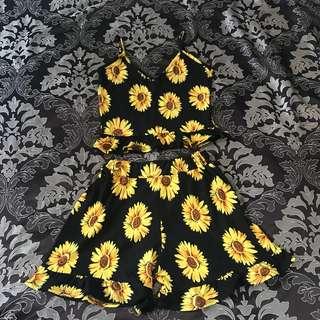Sunflower crop top and bottom short SUNDLOWER PAIR🌻