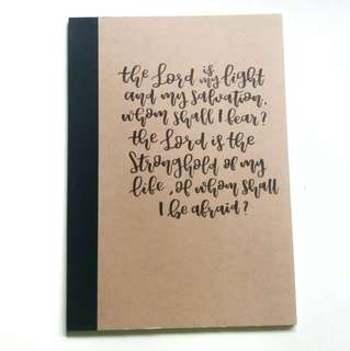 customized brush lettered muji lined notebook 📓